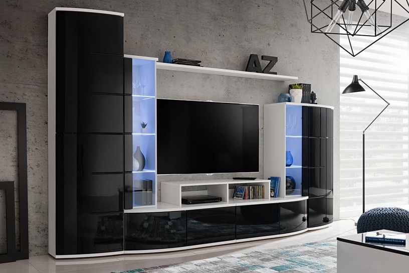 ASM Leave Living Room Wall Unit Set Black/White