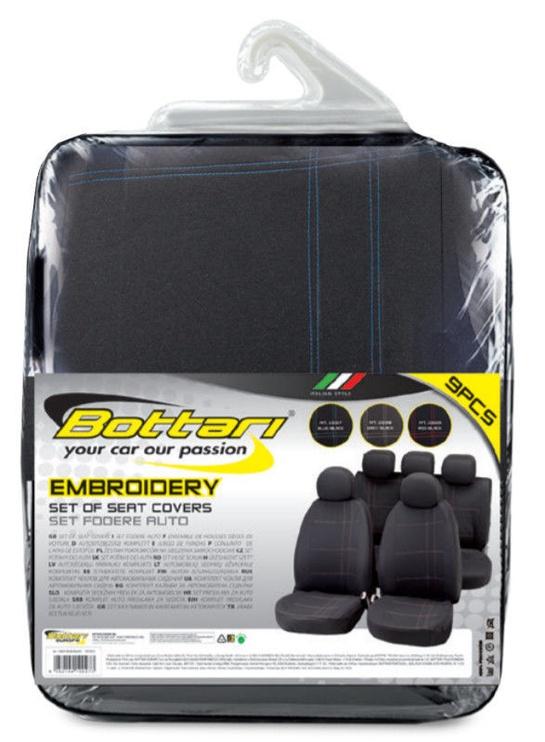 Bottari Embroidery Seat Cover Set Black Blue