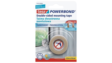 Līmlente Tesa Powerbond Double Sided Mounting Tape 19mm 1.5m Transparent