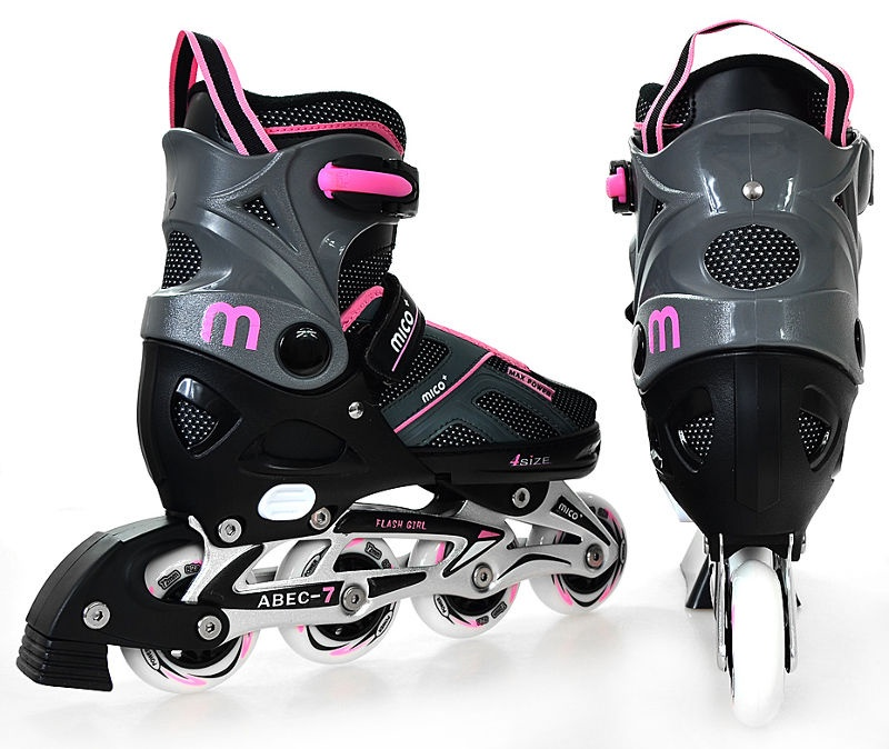 Ролики Mico Plus Flash Girl Black/Pink, 33-36