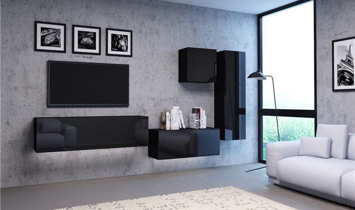 Vivaldi Meble Vivo 01 Wall Shelf With LED Black/Black Gloss