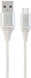 Gembird USB To USB Type - C Premium Cotton Braided Cable Silver / White 1m