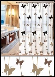 Штора для ванной Home Accents ZHY055-2, коричневый/белый/черный, 1800 мм x 1800 мм