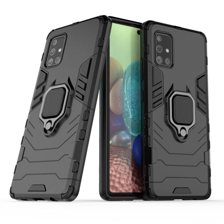 Hurtel Ring Armor Back Case For Samsung Galaxy A71 5G Black