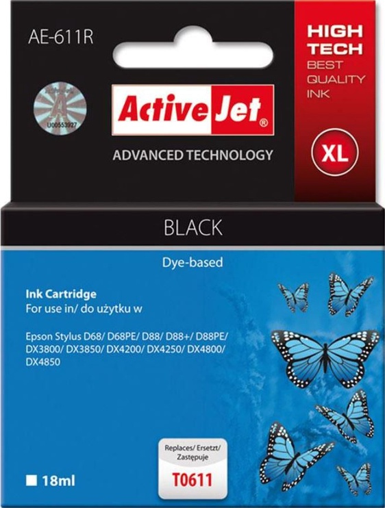 ActiveJet Cartridge AE-611R For Epson 18ml Black