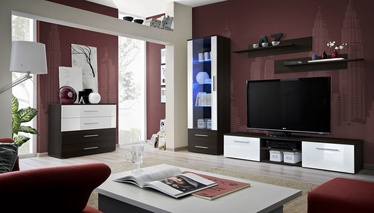 Dzīvojamās istabas mēbeļu komplekts ASM Galino B Wenge/White Gloss/Wenge