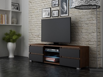 TV galds Pro Meble Milano 150 Walnut/Black, 1500x350x420 mm