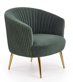 Atzveltnes krēsls Halmar Crown, zelta/zaļa, 78x72x80 cm