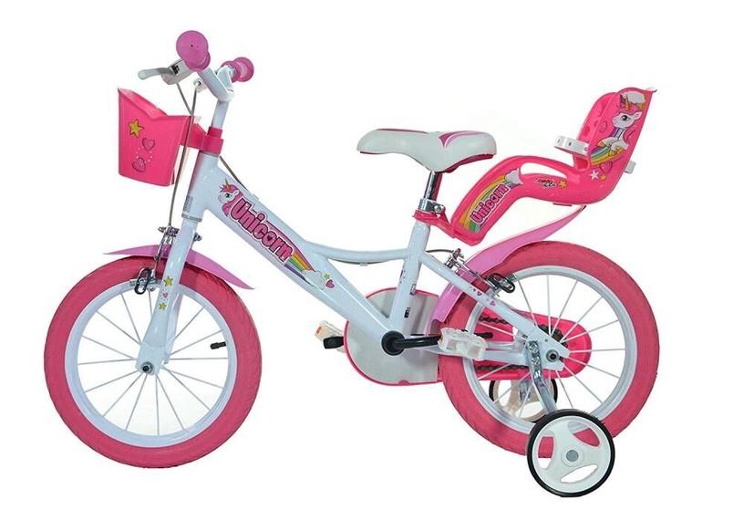 "Bērnu velosipēds Dino Bikes 144R-UN, balta/rozā, 14"""