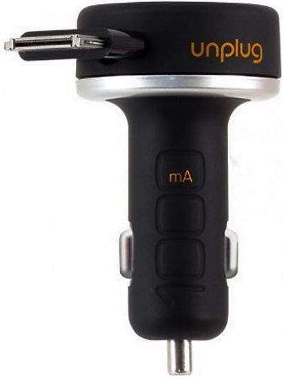 Unplug Compact 30Pin Fast Car Charger With Rewind Cable Black