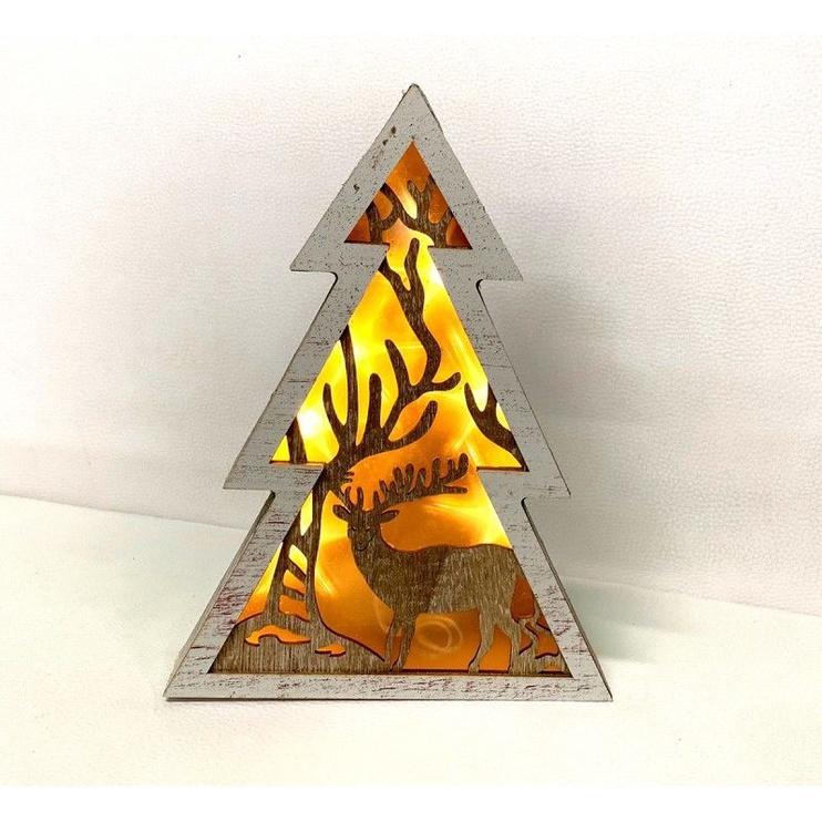 Dekorācija Niveda Illuminated Plywood Christmas Tree 24cm
