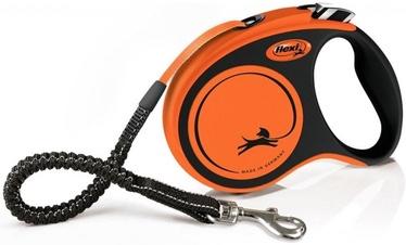 Siksna Flexi Xtreme S, melna/oranža, 5 m