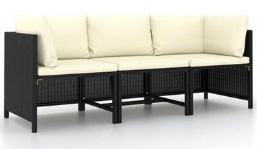 Садовый диван VLX Poly Rattan, черный, 174 см x 60 см x 60 см