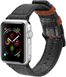 Dux Ducis Canvas Leather Band For Apple Watch 38/40mm Black/Brown