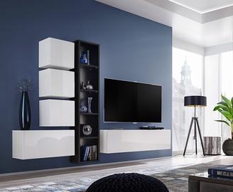 ASM Blox III Living Room Wall Unit Set White/Black