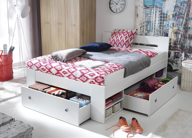 Black Red White Nepo LOZ3S Set Of Bed Drawers White