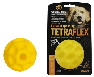 Rotaļlieta sunim Starmark Treat Dispensing Tetraflex M Yellow