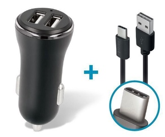 Forever CC-03 Dual USB Car Charger 3.6A With USB Type-C Cable Black