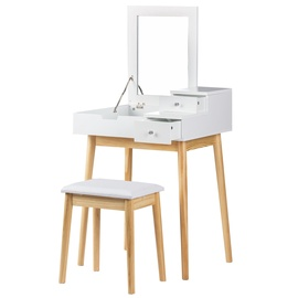 Kosmētikas galds GoodHome 45279, brūna/balta, 60x50x76 cm, with mirror