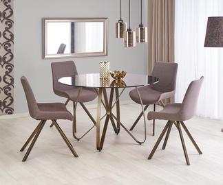Обеденный стол Halmar Lungo, коричневый/золотой, 1200x1200x760мм
