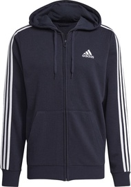 Adidas Essentials French Terry 3 Stripes Full-Zip Hoodie GK9033 Blue XL