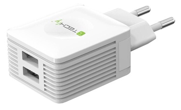 Techly Adapter Charger USB x2 / Euro White