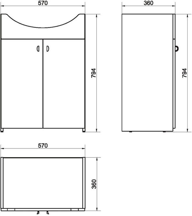 Izlietne ar skapīti vannas istabai Cersanit 46cm, balta