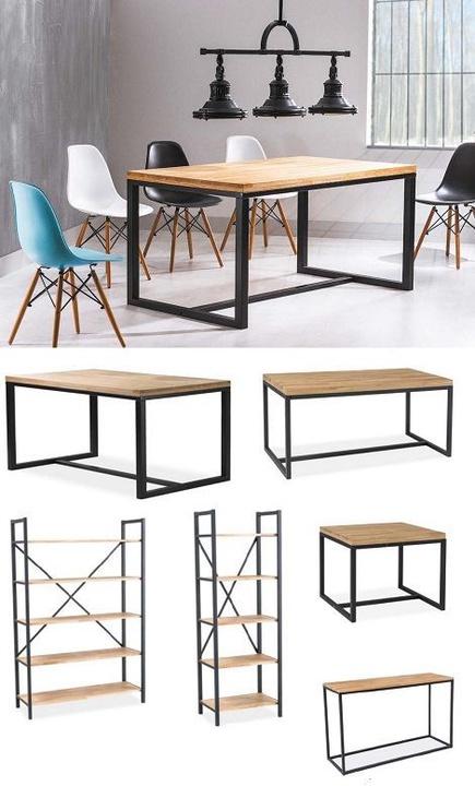 Обеденный стол Signal Meble Loras Oak/Black, 1500x900x750 мм