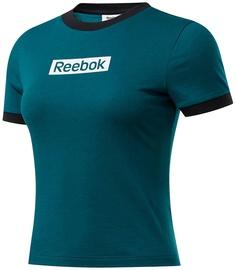 T-krekls Reebok Womens Training Essentials Linear Logo Slim Shirt FK6679 Green L