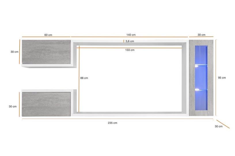 Dzīvojamās istabas mēbeļu komplekts ASM Galaxy White/Grey