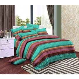 Комплект постельного белья Okko WY07, коричневый/зеленый, 140x200