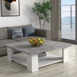 Kafijas galdiņš Forte, balta/pelēka, 900 mm x 900 mm x 310 mm