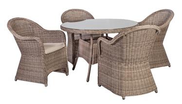Āra mēbeļu komplekts Home4you Toscana K10523, pelēks/smilšu, 4 sēdvietas