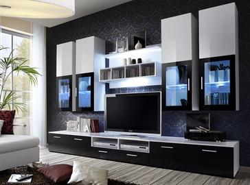 Dzīvojamās istabas mēbeļu komplekts ASM Lyra White/Black