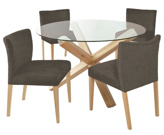 Home4you Turin Dining Set With Round Table 5pcs Brown Grey