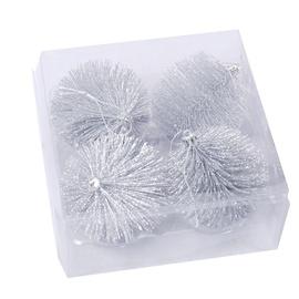 Ziemassvētku eglīšu rotaļlietas, plastmasa, 8 cm, 4 gab. SYMINI- 3176
