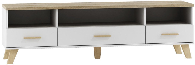 TV galds Cama Meble Lotta 180 White/Sonoma Oak, 1800x400x530 mm
