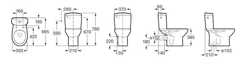Tualete Roca Victoria A342395000, 355x665 mm