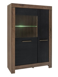 Black Red White Balin LED Glass Door Cabinet Oak Monastery/Black Oak