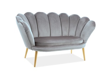 Signal Meble Magnolia 2 Velvet Sofa Grey/Gold