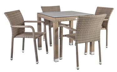 Āra mēbeļu komplekts Home4you Larache K21208, pelēks/brūns, 4 sēdvietas