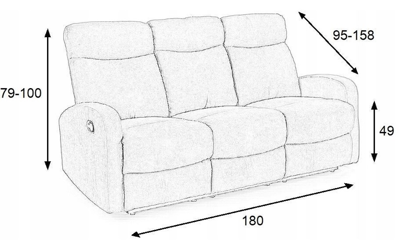 Dīvāns Halmar Oslo 3S Grey, 180 x 95 x 100 cm