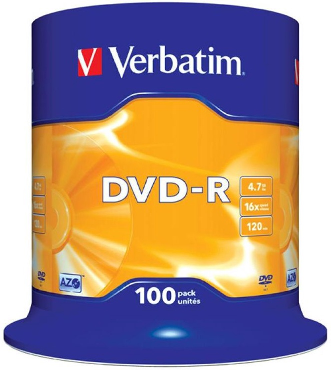 Verbatim DVD-R 16X 4.7GB 100P Matte Silver AZO Cake Box