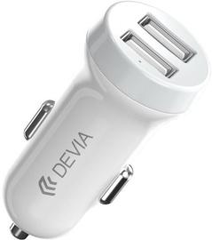 Зарядное устройство Devia Smart Dual USB Car Charger With Micro USB Cable White