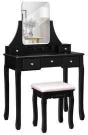 Kosmētikas galds Songmics Vasagle, melna, 80x40x137.5 cm, with mirror