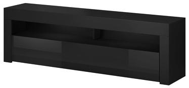 TV galds Vivaldi Meble Mex 2 Black/Black Gloss, 1400x350x500 mm