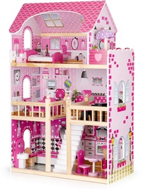Leļļu māja EcoToys Wooden With Furniture And LED Pink