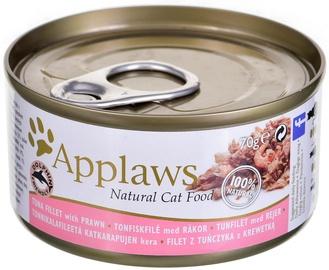 Mitrā kaķu barība (konservi) Applaws Natural Cat Food Tuna Fillet & Prawn 70g