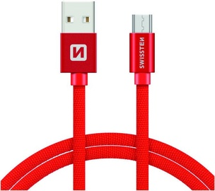 Провод Swissten Textile Micro USB Data and Charging Cable 3m Red