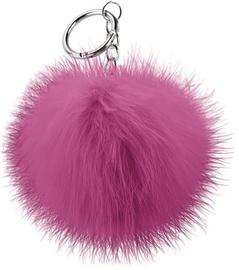 Beeyo Soft Fluffy Ring The Pompom & Smartphone Finger Holder Dark Pink/Silver